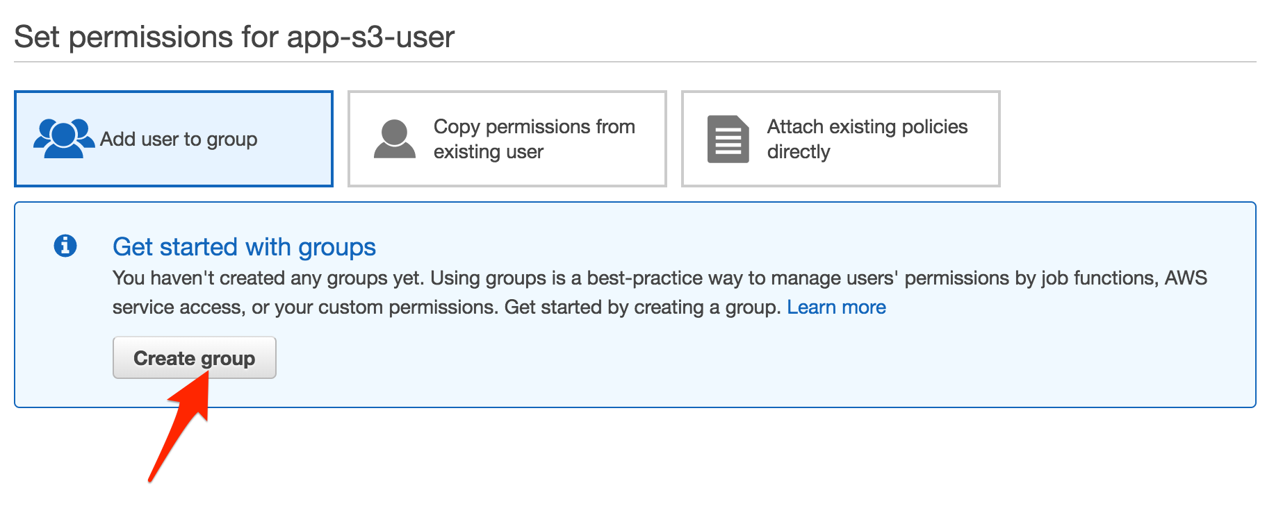 AWS Permissions Create Group
